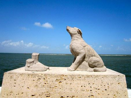 Dog, Statue, Sea, Sky, Sculpture, Animal, Canine