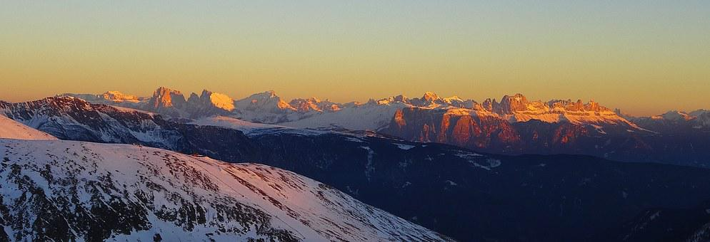 Sunset, South Tyrol, Dolomites, Mountains, Sun, Shadow
