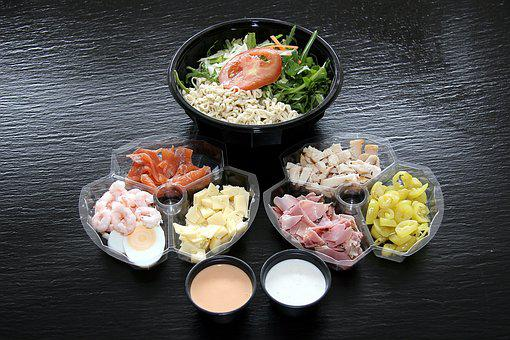 Salad, Takeaway, Roof With, Dining, Food, Prawns, Eggs