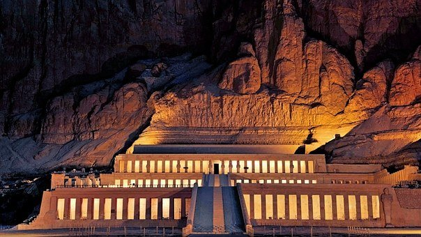 Hathseput Mortuary, Egypt, Memorial, Night Shot
