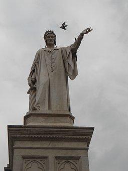 Dante, Square, Piazza, Italy, Naples, Europe, Statue