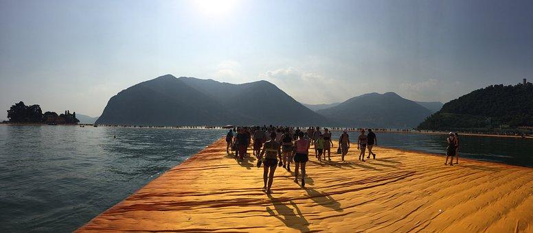 Piers, Floating Piers, Art, Platform, Water, Sea, Float