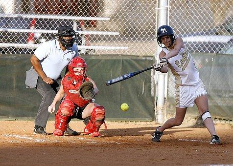 Softball, Batter, Catcher, Umpire, Female, Game