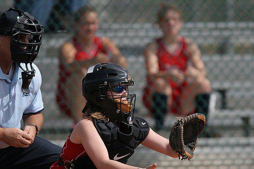 Softball, Catcher, Glove, Mask, Umpire, Spectators