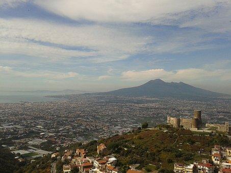 Naples, Vesuvius, Gragnano, Clouds, Castle, Landscape