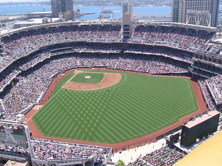Baseball, Stadium, Venue, Sports, Water, Skyline, Green