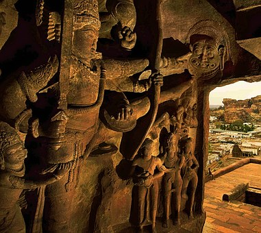 Hand Carved, Sand Stone Bluff, Cave, Temple, Badami
