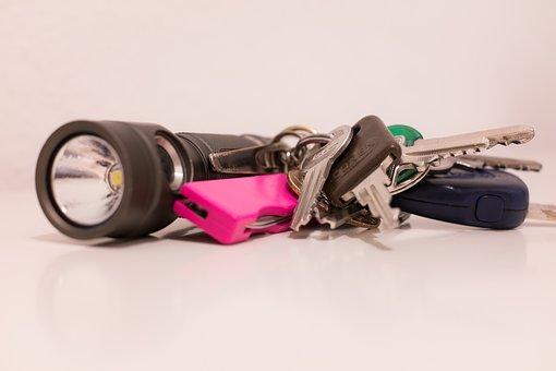 Key, Flashlight, Pocket Knife, Keychain, Door Key
