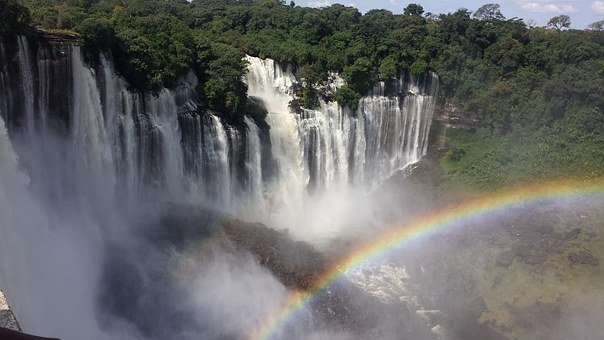 Cataracts, Angola, Rainbow, Nature, Landscapes, Tourism