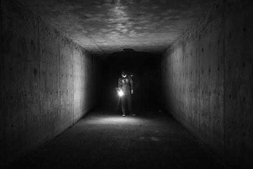 Flashlight, Dark, Tunnel, Underground, Guy, Man, People