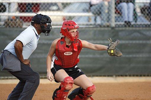 Softball, Catcher, Umpire, Female, Mask, Glove