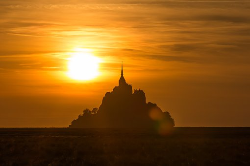 Mont St Michel, Evening Sky, Sunset, Afterglow
