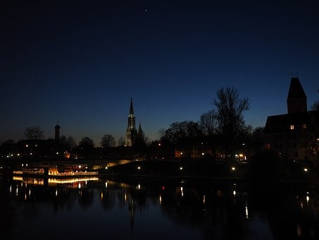 Ulm, Danube, At Night, Evening, Mood, River, Water