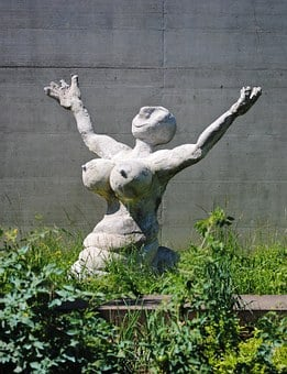 Woman, Breasts, Fig, Sculpture, Cement, Grey, Naked