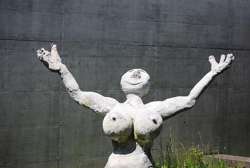 Woman, Figure, Sculpture, Cement, Grey, Breasts, Naked