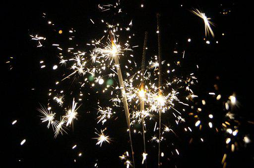 Sparklers, Night, New Year's Eve, New Year's Day