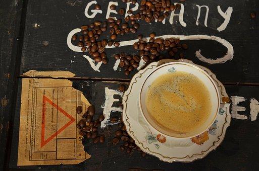 Coffee, Cup, Old, Coffee Beans, Caffeine, Nice Pattern