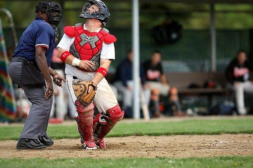 Baseball, Player, Catcher, Sport, Uniform, Field, Game