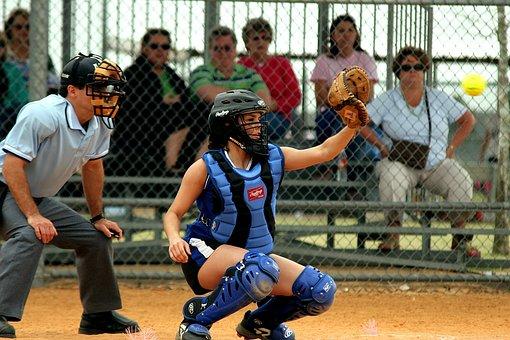 Softball, Catcher, Female, Game, Player, Field
