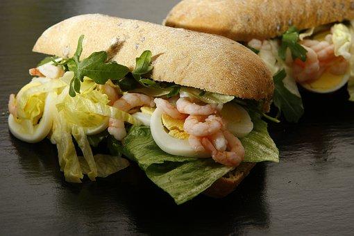 Sandwich, Eggs, Prawns, Salad, Rocket, Dining, Food