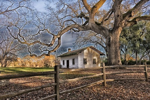 Red Bluff, California, House, Home, Adobe, Trees, Hdr