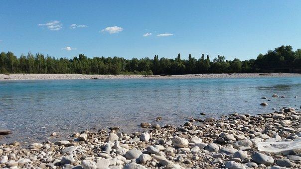River Tagliamento, Cimano, Water, Stone, Landscape