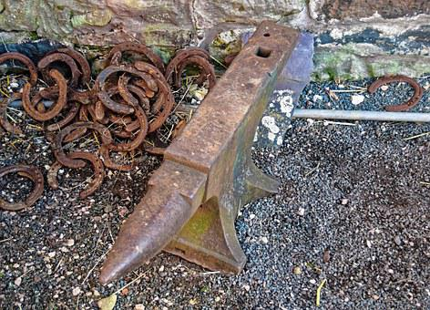 Anvil, Old, Horse Shoes, Rusty, Blacksmith, Iron, Metal