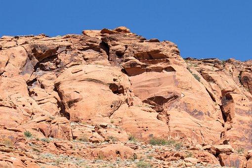 Sandstone, Cliff, Rock, Nature, Landscape, Sky, Blue
