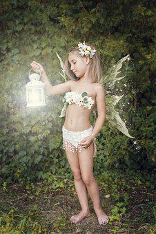 Girl, Fairy, Elf, Small, Light, Flashlight, Lamp