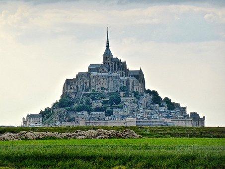 Mont St Michel, Monastery, Sunlight, Landmark, Historic