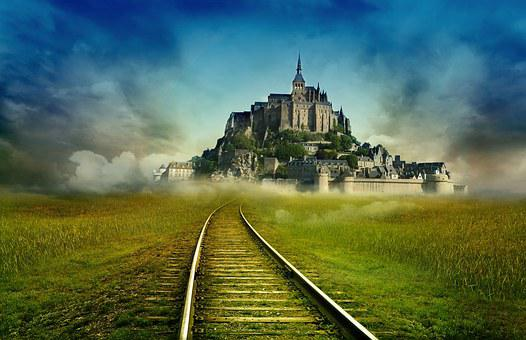 Michel Brittany Monastery, France, Castle, Road, Train