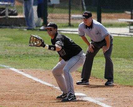 Baseball, First Base, Umpire, Game, Focus