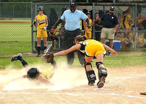 Softball, Scoring, Sliding, Runner, Female, Umpire