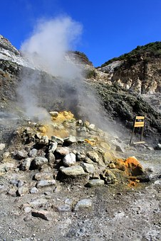 Phlegraean Fields, Volcano, Naples, Smoke, Glow, Rock