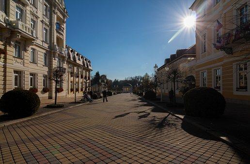 Lazne, Czech Republic, Back Light, Shopping Street