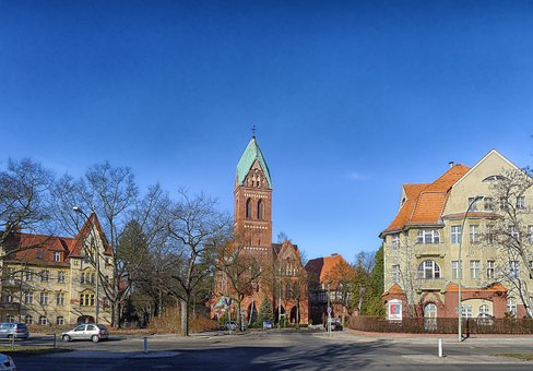 Berlin-zehlendorf, Germany, Church, Buildings, Sky