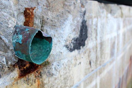 Copper, Green, Wall, Stone, Pipe, Drain