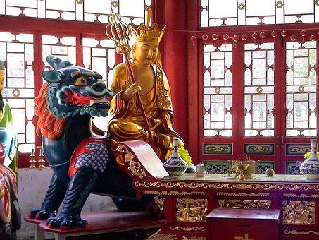 Dragon, Figure, Buddah, Golden, China, Fengcheng