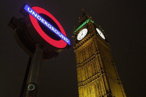 London, Night, City, Light, Underground, Metro