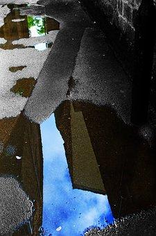 Old, Path, Pavement, Pool, Puddle, Rain, Rainy