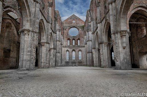 Tuscany, Italy, Monastery, Abbey, Ruin, San Galgano