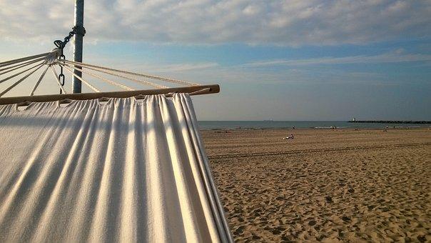 Horizon, Beach, Hammock, Sea, Air, Water, Sand, View