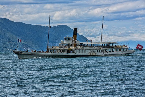 Beautiful Steam Ship, Paddle Steamer, Steamboat, Ship