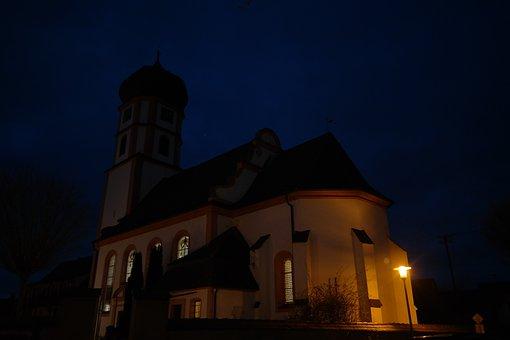 Church, Steeple, At Night, Illuminated