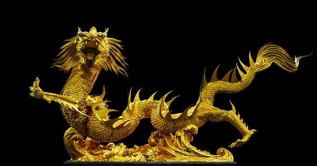 Golden Dragon, Broncefigur, Gold, Thailand, Asia