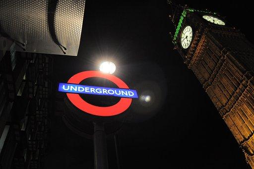 Tube, Underground, Westminister, London, Night, Big Ben