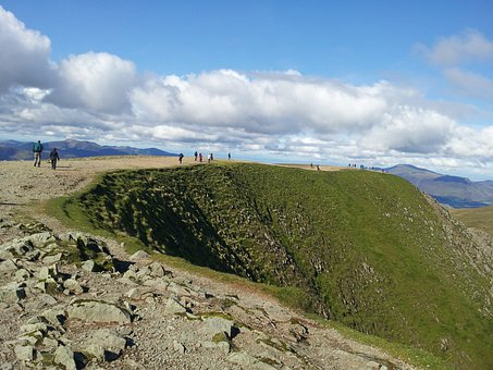 Summit, Helvelyn, Hill, Walkers, Walking, Mountain