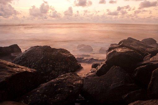 Rocks, Sea, Ocean, Ambient, Scenery, Misty