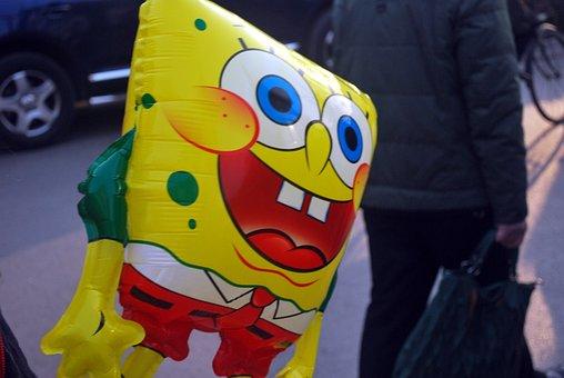 Balloon, Sponge, Bob, Cartoon, Character, Inflatable