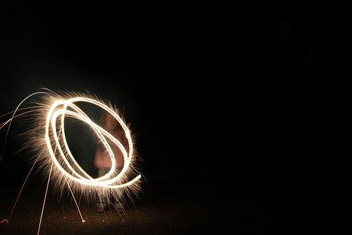 Fireworks, Bengali Fire, Match, Night, Light, Child